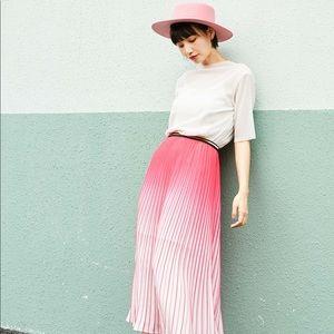 Chic elastic high waist Pleated midi skirt